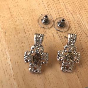 Cross Earrings Silver Gold Colored Metal Vintage